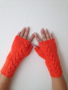 Love these: Orange Wool Fingerless Gloves Armwarmers Hand Knit by NesrinArt, Orange Gloves, Fingerless Gloves Knitted, Wrist Warmers, Orange Crush, Winter Accessories, Knitting Designs, Hand Knitting, Knit Crochet, Wool