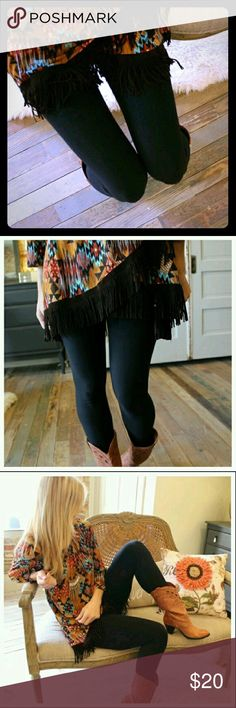 ❤️ SOLID BLACK, Butter-Soft Leggings ❤ Gorgeously soft AND solid black! Like second skin, these 92% polyester & 8% spandex leggings will bathe your legs in comfort while slimming your look to perfection. One-size fits 2-14/16. Pair with ANYTHING! Infinity Raine Pants Leggings