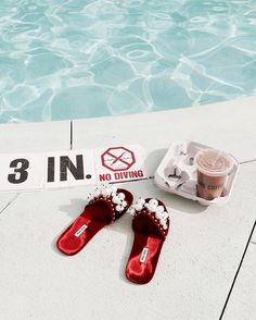 #miumiu #coffee #icedlatte #miumiushoes #shoes #slides #velvet #pearls #pools #pool #poolside #summer #soylatte #miami #miamibeach #washingtonparkhotel #wphsouthbeach #southbeach