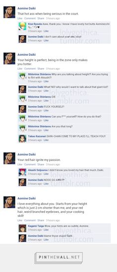 Aomine only wanted to drop little hints that he fancied Kagami.