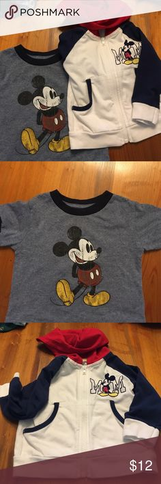 Mickey Mouse t-shirt and hoodie. Excellent condition.  Lightweight Hoodie and Classic T Shirt Disney Shirts & Tops Sweatshirts & Hoodies