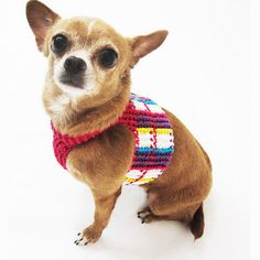 Houndstooth Dog Harness Pet Clothing Colorful Plaid by myknitt #handmade #dogclothing #dogharness #unique #handmade #houndstooth #pets #chihuahua #myknitt