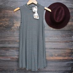 high neck boho striped women's t shirt tank mini dress - black