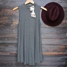 high neck boho striped women's t shirt tank mini dress - black