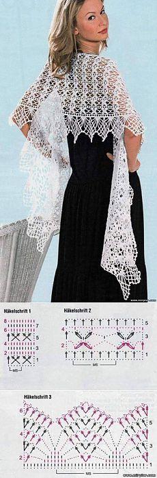 Crochet Shrug Diagram Link 43 Ideas For 2019 Crochet Motifs, Knit Or Crochet, Crochet Scarves, Crochet Clothes, Crochet Stitches, Crochet Patterns, Crochet Diagram, Crochet Chart, Free Crochet