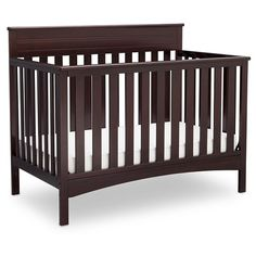 The Fabio 4-in-1 Convertible Crib from Delta Children blends classic styling with contemporary convenience for a convertible crib that meets your baby's changing needs. Boasting a handsomely crafted headboard with molded detailing and clean lines, this strong and sturdy crib with three mattress adjustment levels also turns into a toddler bed, daybed and full size bed, growing along side your child (Toddler Guardrail and Full Size Bed Rails sold separately).