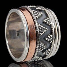 925 STERLING SILVER MEDITATION SPIN SPINNER RING - Sz 6 3/4 - FABRIIKA DESIGN