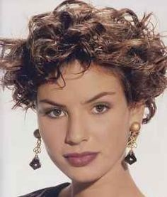 Short Layered Curly Hairstyles | girl with old fashioned short layered curly hairstyle.