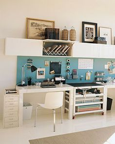 DESK IDEA!!!  Long desk space, back board, storage up top. Great light colors for a basement office area.
