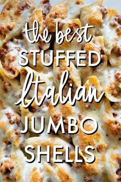 Jumbo Shells Stuffed, Italian Stuffed Shells, Sausage Stuffed Shells, Jumbo Pasta Shells, Stuffed Shells Recipe, Stuffed Pasta Shells, Jumbo Shells Recipe Ground Beef, Jumbo Shell Recipes, Italian Sausage Recipes