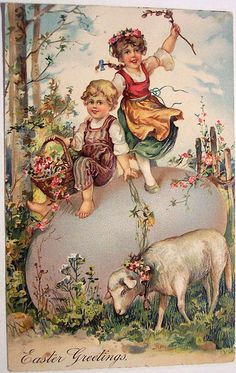 Happy Easter, blessings to you and your family! Thank you sweet Kathy for this beautiful Easter greeting! Easter Vintage, Vintage Holiday, Easter Art, Easter Crafts, Vintage Greeting Cards, Vintage Postcards, Decoupage, Images Vintage, Easter Pictures