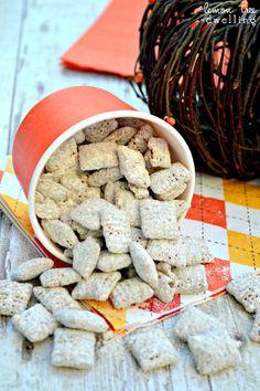 Pumpkin Nutella Muddy Buddies INGREDIENTS 8 c. Chex cereal 1 c. Pumpkin Spice Hershey's Kisses ½ c. Nutella 2 c. Yummy Snacks, Yummy Treats, Delicious Desserts, Sweet Treats, Yummy Food, Pumpkin Recipes, Fall Recipes, Holiday Recipes, Yummy Recipes