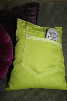 Recycled Jeans TV Remote Pocket Pillow.