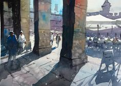 #watercolor #StcMill #Saunders watercolour of Plaza Major in #Madrid