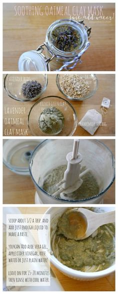 Dry Oatmeal, Lavender & Clay Mask- So easy and perfect for all skin types. Just add liquid, apply and VOILA-Beautiful skin!DIY Dry Oatmeal, Lavender & Clay Mask- So easy and perfect for all skin types. Just add liquid, apply and VOILA-Beautiful skin! Homemade Face Masks, Homemade Skin Care, Diy Skin Care, Diy Face Mask, Skin Care Tips, Organic Skin Care, Natural Skin Care, Organic Makeup, Natural Beauty