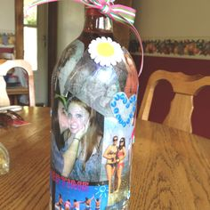 Mod podge wine bottle for my friends birthday!