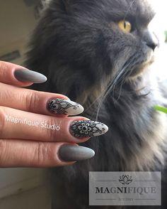 #grey#nails#ombre#graue#nägel#farbverlauf#black#painting #rapidograph #szare#paznokcie #czarny#rapidograph #kot#katze#britischlanghaar #britishlonghair #charlie