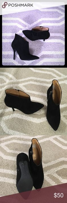 Enzo Angiolini suede ankle bootie Sexy suede black ankle booties worn once. In near perfect condition. Slight fading on right toe but barely noticeable. Enzo Angiolini Shoes Ankle Boots & Booties