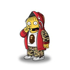 I choo choo choose you!  Ralph wearing full @bape_us  @bape_jp  most requested character so far couldn't finish the series without him! Only one more to go before the series release #illustration #graphicdesign #bape #nike #simpsons #hoodbyair #hypebeast #stussy #supreme #streetwear #ootd #design #sneakerhead