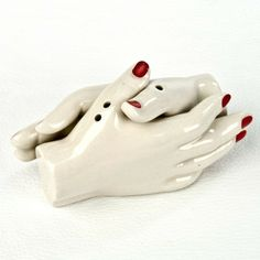 """Shaking Hands Salt and Pepper Shakers by Relique / So super in love with these! Will own, and add to my wondrous collection, and break my """"vintage only shakers"""" rule!"""