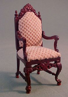 """Bespaq 1/2"""" Scale Mahogany Chestney Library High Back Chair"""