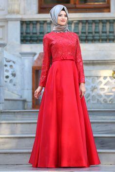 TUAY - Tuay - Mikado Saten Kırmızı Tesettür Abiye Elbise 2372K