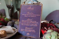 Dark plum menu with copper calligraphy - wedding ideas. Art Inspires Life - Part 1 - McKenzie-Brown Photography Wedding Calligraphy, Menu Design, Menu Planning, Bridal Looks, Wedding Table, Weddingideas, Plum, Copper, Wedding Inspiration