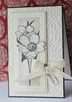 Really like this flower stamp. Fabulous Florets by Heather Summers Flower Stamp, Flower Cards, Embossed Cards, Stamping Up Cards, Cards For Friends, Sympathy Cards, Card Tags, Creative Cards, Anniversary Cards