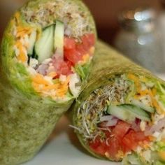 These Sprouts, Veggies, and Cheese Wraps are loaded with antioxidant-rich vegetables and protein-rich cheese, making each one a well-balanced, clean eating wrap.