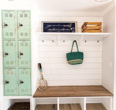 My love of metal lockers runs deep. Like to my core, deep. Seeing this ah-maz-ing mint locker/mud room combo by @_rafterhouse_ made my heart skip a beat. I finally found my lockers a few days ago, and had plans to paint them white.... but now I'm totally reconsidering a fun color (the blue they are now is just a tad to bright for the space). What color would you paint lockers if you had them? #operationprettyhouse #house #home #homedecor #instadecor #homesweethome #pretty #makehomeyours…