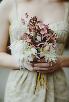 Bohemian Mixed Posy with Hydrangea. A bohemian-inspired pink-and-white posy comprised of blushing bride protea and hydrangea, created by BRRCH Flowers.