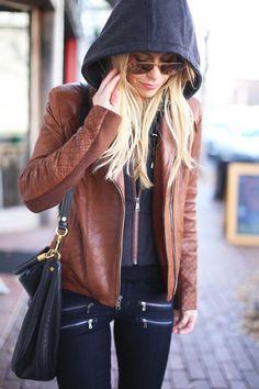 brown leather jacket, black jeans