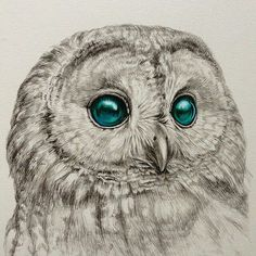 Owl pen drawing by @kozue_oshima #artistinspired #theartisthemotive .