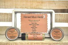 First Aid Kit -  Black Drawing Salve - Mighty Honey Salve - Yarrow - Burn Salve - Splinters - Wounds - Bites - Natural - Organic - Travel Metal Tin
