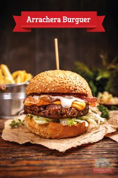 Delicious hamburger with cheese by grafvision. Delicious hamburger served on vintage wooden background Cafe Food, Food Menu, Good Food, Yummy Food, Delicious Burgers, Food Platters, Burger Recipes, Food Cravings, Sandwiches