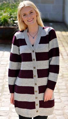 Strikkeopskrift på lang, stribet trøje | Forårsovertøj eller lækker vintersweater | Fin kombination af teknik og farve | Strikket trøje med flotte striber | Håndarbejde