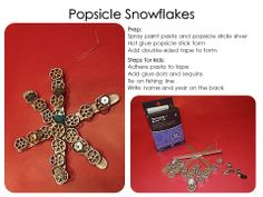 Pasta popsicle stick snowflakes: spray paint silver, make a popsicle stick form, glue pasta, add sequins