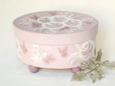 Hat Box - Painted Orchid Roses and Butterflies Oval Decorative Storage Box - Bridesmaid Gift Vanity Jewelry Box.