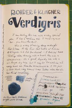 Rohrer & Klingner Verdigris writing sample