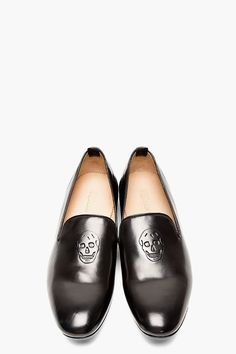 Skull Embossed Black Leather Loafers, by ALEXANDER MCQUEEN. Men's Fall Winter Fashion.
