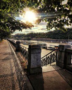 Prague, Railroad Tracks, Sidewalk, Walkway, Walkways