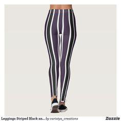 Leggings Striped Black and Deep Purple Purple Leggings, Striped Leggings, Women's Leggings, Purple Hues, Deep Purple, Fitness Wear Women, Travel Wear, Summer Wear, Workout Wear