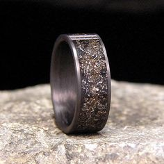 Meteorite Shavings Inlay Carbon Fiber Wedding Band by HolzRingShop