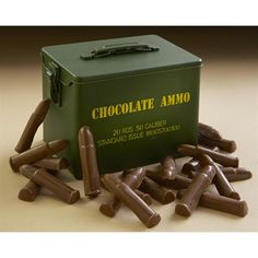 Dangerously delicious Chocolate Ammo in a Novelty Ammo Can is a fun gift for the hunter in your life!