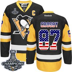Reebok Pittsburgh Penguins  87 Men s Sidney Crosby Authentic Black Gold USA  Flag Fashion Stanley. Nhl ShopStanley Cup ... 32815eb01