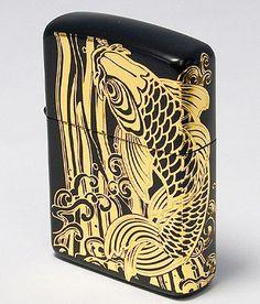 Armor Matte Black Rising Carp Two surface Etching Gold