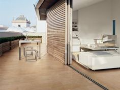 Eurowest wood-look porcelain indoor-outdoor floor tile. Looks great on building facades and retaining wall faces too. See Legni High Tech. Modern House Design, Contemporary Design, Wood Effect Porcelain Tiles, Commercial Flooring, Outdoor Flooring, Cool Walls, Tile Design, Natural Wood, Interior And Exterior