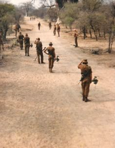 SADF (South African Defence Force) sweeping for mines.