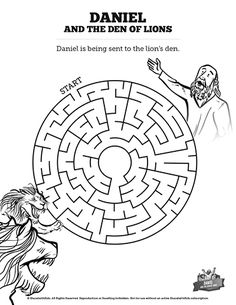 Daniel And The Lions Den Bible Mazes: Can you find your way through this Daniel and the lions den kids Bible maze? Beautifully designed with just enough challenge to make it fun, this printable Sunday school activity page is perfect for your upcoming lesson on Daniel and the lions den.