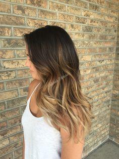 Long dark brown to medium blonde ombré.
